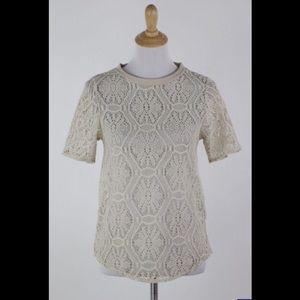 Banana Republic Ivory Sheer Crochet Top